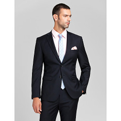 Donkerblauw Polyester Tailored Fit Two-Piece Suit