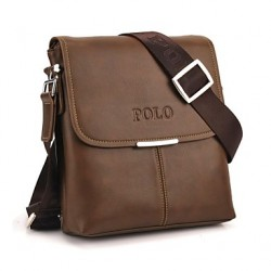 Mannen Soft PU Leather Flap Top Casual Business Crossbody Bag