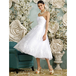 A-Line Trouwjurk-Witte Thee-Lengte Sweetheart Tulle