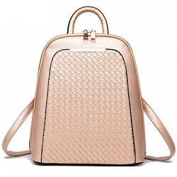 Damesmode Casual Knit PU Leather Backpack
