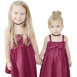 Baby Girls A-line Suspender Dresses Bowknot Front Skirt Red Dress
