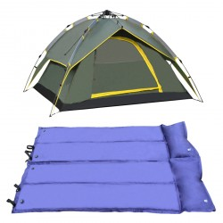 Four-Person Outdoor Camping Prevent Hurricane Rainproof Double Tent With Double Inflatable Bed