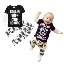 Baby Boys Black White Letters Long Sleeve Spring Autumn Leggings Clothes Set