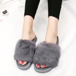 Winter Warm Open Toe Slipper Faux Fur Footwear Cozy Indoor for Women