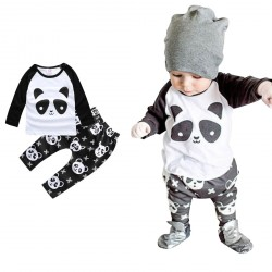 2PCS Set Black Bodysuit Panda Printed Long Sleeve Gift Set