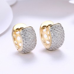 18K Gold Plated Hoop Earrings with Inside Out Pave Crystals with Box
