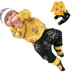 Baby Girl Boy Yellow Long Sleeve Tops Pants Sets Outfits Clothes