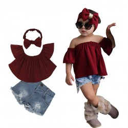 Baby Girl 3 Pieces Hairband Red Off Shoulder T-shirts Denim Short Pants