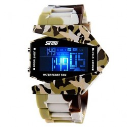Mannen Army Style Multi-Functionele Kleurrijke Led Camouflage Silicone Band Wrist Watch (Assorted Colors)