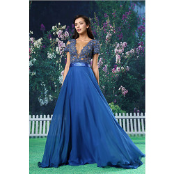 Formele Avondjurk-Royal Blue A-Line Jewel Floor-Length Chiffon / Kant / Satijn