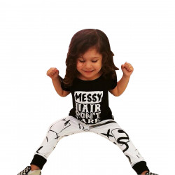 Baby Girls Cotton Long Sleeve Letters T-shirt Pants Outfit Set