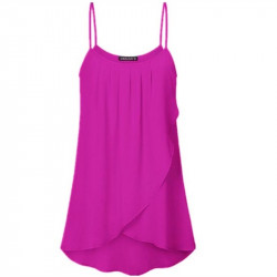 Dames Zomer Chiffon Effen kleur O-hals Mouwloos Sling Losvallende geplooide casual tanktops