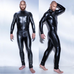 Men's Black Full Zipper Zentai Bodysuit