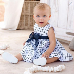 Baby Toddler Girl Kids Cotton Outfit Kleding Top Bow-Knot Plaids Dress For 0-3 Year