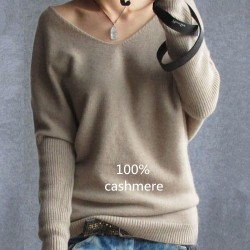 2017 Lente Herfst Cashmere Truien Vrouwen Fashion Sexy V-Neck Sweater Losse 100% Wol Sweater Batwing Mouw Plus Maat Pullover