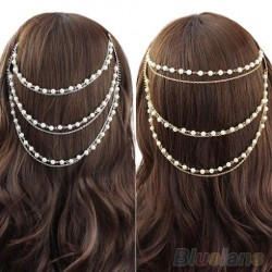 Celebrity Women's Boho Pearl Headband Tassel Hoofdstuk Haarketting Haar Comb Jewelry 1Oyx