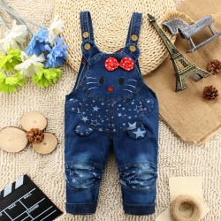 2017 New Arrival Baby Jeans Pant Baby Cartoon Denim Pant Cat Fashionable Design