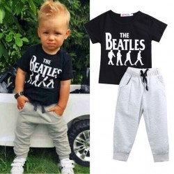 Baby Boy Clothes 2Pcs Korte Mouw T-Shirt Tops + Broek Outfit Kleding Set Suit Met The Beatles Printed