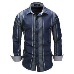Classic Blue Vertical Striped Long Sleeve Shirt for Men