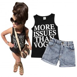 1 Set Denim Toddler Baby Girl T-shirt Tops Shorts Pants